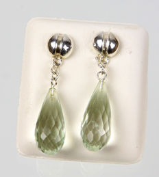 Prasiolite Pendeloques earrings, silver 925