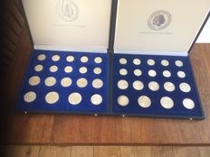 The Netherlands – 1, 2½ and 10 gulden (guilder) 1954/1973 Juliana 2x silver money, complete in coin cases.