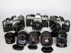 Canon FD cameras with lenses