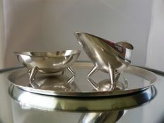WMF – Modernist design silver-plated sugar and cream set