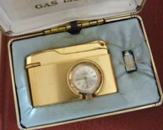 1975 Buler gas lighter & Swiss clock mechanism 17jewels boxed