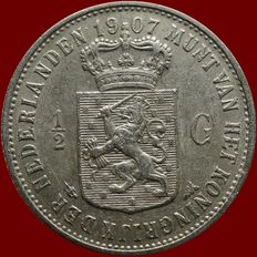 The Netherlands – ½ guilder 1907 Wilhelmina – silver
