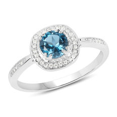 Gold ring 14kt with London blue topaz 0.88 ct and diamonds 0.170 No reserve price