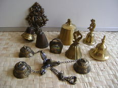 Collection of 10 copper table/wall bells