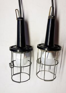 Two vintage Industrial Bakelite Lamps