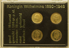 The Netherlands - Medal of 1 Guilder 'Wilhelmina in miniature'  (4 pieces) - Gold