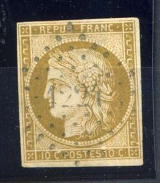 France 1849- Ceres greenish-bistre, signed Brun-  Yvert number 1b.