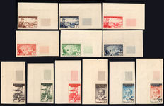 Italian Occupation, Fezzan Ghadamès, 1951 - II issue - Not perforated - Lot of 12 stamps.