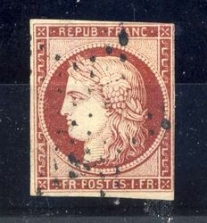 France, 1849- Ceres 1 fr, carmine, Yvert number 6.