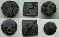 3 medieval animal button pelgrim insignes - 17mm