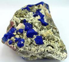 Large Double Sided Royal Blue Lapis Lazuli Crystals with Pyrite on Calcite Specimen - 105 x 95 x 75 mm - 1082gm