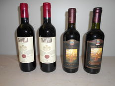 Lot of 4 bottles 37,5 cl : 2013 Marchesi Antinori Tignanello x 2 half bottles -  1993 Castello Banfi  Brunello Montalcino x 1 half bottle - 2002 Castello Banfi  Brunello Montalcino x 1 half bottle /   4 bottles 37,5 cl
