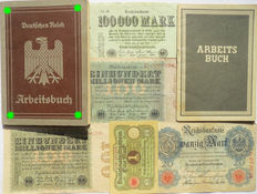 German Arbeitsbuch: 2nd type from Berlin + 5 banknotes + last Arbeitsbuch type. WWII