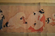 Oriental erotica; paper scroll with 7 Japanese erotic scenes - late 20th century