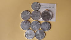 Austria - 4 commemorative 5 and 10 Euro coins, 2002, 2003, 2004 + Germany - 5 commemorative 10 Euro coins, 2002 - silver