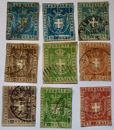 Italy provisional Tuscan government 1860. Yvert & Tellier catalogue # 17, 18, 19, 20, 21, 22