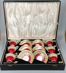 Aynsley bone China for Harrods London - tea set with silver enameled spoons in original case