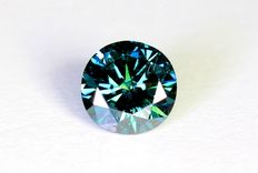 Green-blue diamond of 0.28 ct