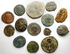 Roman - Bizantine Empire.  Lot 14 pieces. Ae. Mi