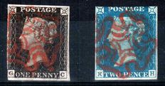 Great Britain Queen Victoria 1840 - Stanley Gibbons 2 and 5.