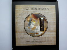 Fiji - 50 dollars 2012 'Egyptian Jewels - Cleopatra' 2 oz silver, partially gold-plated with hematite