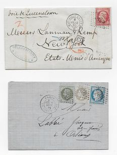France 1865 to 1871 – Two letters including one destined for New York and franking from September 1871.