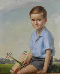 James P Barraclough (act. 1891-1942) - Portrait of a young boy with a model plane.