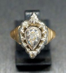 Gold Dutch ring with 9 rose diamonds