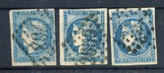 France 1870 - The 3 types of 20c Bordeaux - Yvert no. 44A, 45 and 46B