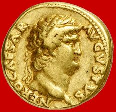 Roman Empire -  Nero (54-68 A.D.), gold aureus ( 7,15 g., 20 mm.) from Rome mint, 64-65 A.D. Closed doors of the temple of Janus. Rare.