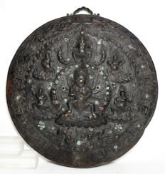 Copper Mandala plaquette with Dharmapalas - Tibet/Nepal - 3rd quarter of the 20th century