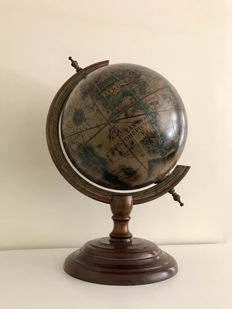 Whole Italian Globe in wooden stand, about created with map of 1400-1600.