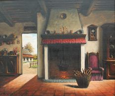 Unknown maker (20th century)-Old Flemish interior with view on yard