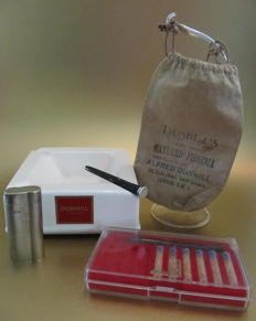 Collection Dunhill items: Lighter, ashtray, pipe tamper, cigarette holder & tobacco pouch?