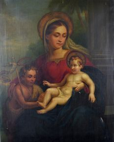 Attrib. to Constant De Surgeloose (act. 1837-1860) - The Madonna with Christ child and St John the Baptist.