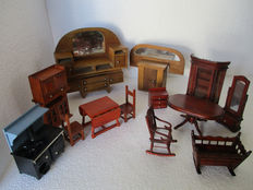 Fourteen pieces of Assorted Doll House Furniture in solid wood.