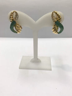 18 kt gold earrings with diamonds totalling 0.65 ct colour approx. H VS weight approx. 15.10 g