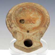 Roman terracotta oil lamp with actor's mask, rare small type -  72,3 mm