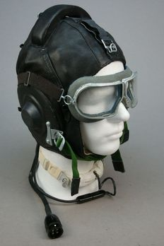 Calfskin Russian pilots cap with goggles, communication set with throat microphone