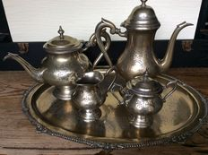 Large antique coffee and tea set, silver plated and gilded first half 20th century