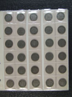 Germany - 270 x 10 Pfennig coins beginning from 1873, collection