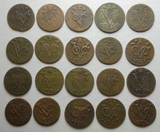 Dutch East Indies – Duit coins V.O.C. (Dutch East India Company) from various years and provinces (20 pieces)