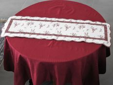 "Square tablecloth Bouchara 1 m 60 x 1 m 60 and his table runner ""boutis"" 100% cotton"