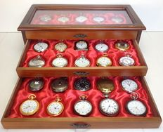 Timepieces - fine collection of 30 various pocket watches in a luxury case