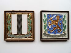 Porceleyne Fles (Royal Delft) - 2 Cloisonné tiles - Province and city coat of arms