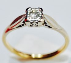 18 kt yellow gold / platinum 950 Solitaire ring with diamond (0.22 ct) – no reserve price