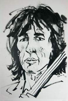 Rolling Stones -exclusive Ronnie Wood Drawing of Bill Wyman Print-lithograph-signed in print by ronnie  wood