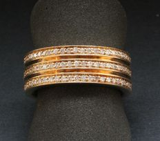 Gold 14 kt Women's Fantasy Ring with Diamonds – 55 (EU)