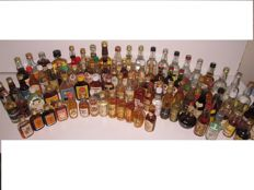 Miniature bottles of rum/rhum, brandy and vodka. The collection comprises 91 bottles