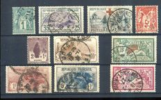 France 1877/1927 - selection of stamps - Yvert n° 61, 152, 156, 216, 207/208, 229/232